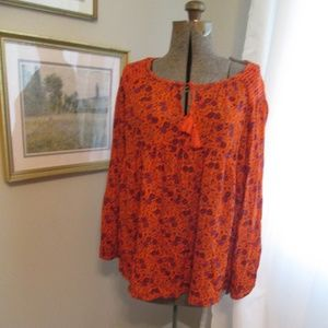 Orange Floral Smocked Tunic Boho Peasant Top